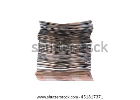 the stack of money on a white background.