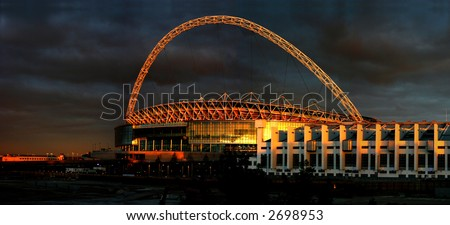 The stadium in the sunset in london. - stock photo