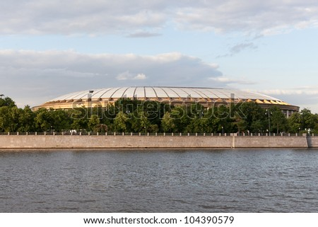 "The stadium ""Luzhniki"" View from Moscow River - stock photo"