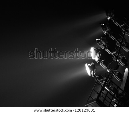The Stadium Spot-light tower (dark background) - stock photo
