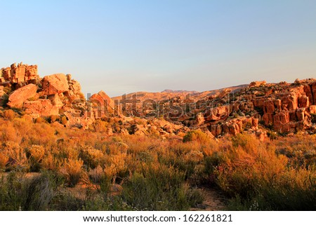 The Stadsaal Caves landscape in the Cederberg, South Africa.  - stock photo