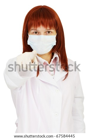 The staff nurse points a finger at us on white