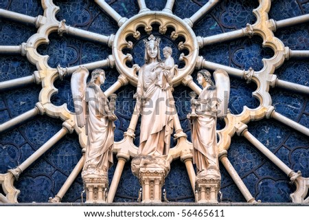 The stained-glass of basilica of the Notre-Dame - stock photo