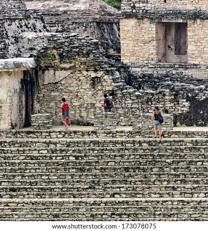 The staircase in ancient town Palenque, Mexico - stock photo
