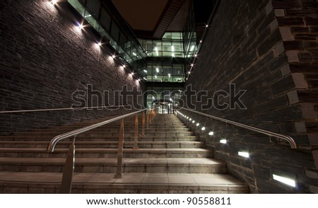 The staircase to success. The Path to success. The Roland Levinsky Building was designed by architects Henning Larsen with Building Design Partnership. - stock photo