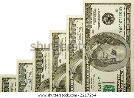 the stairs from dollars banknotes with clipping path - stock photo