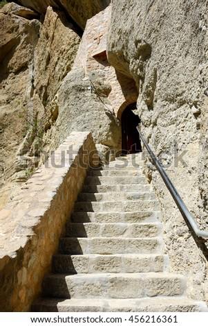 The stairs to Monastery of Holy Trinity, Meteora,  Greece - stock photo