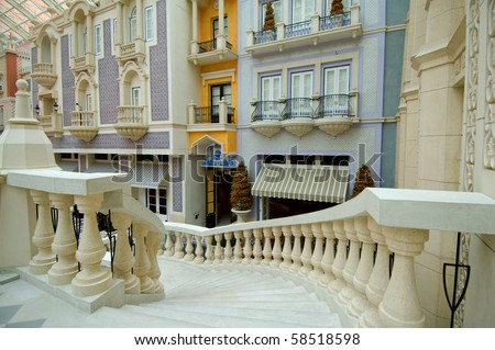 The stairs to the lobby of hotel - stock photo