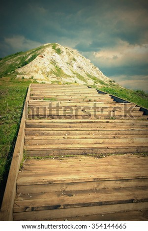 The stairs up the hill and to the heavens - stock photo