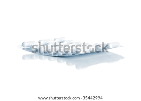 The standard of tablets isolated on white - stock photo