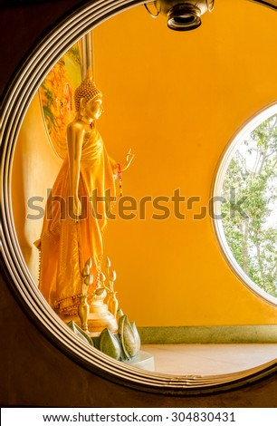 The standing buddha Statue in Hatyai Songkhla Thailand - stock photo