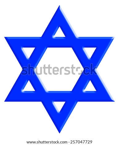 The Star of David, known in Hebrew as the Shield of David or Magen David. It is a generally recognized symbol of modern Jewish identity and Judaism. With Clipping Path - stock photo