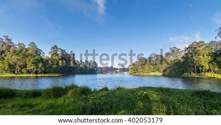 The star shaped Kodaikanal Lake, also known as Kodai Lake is a man-made lake located in the Tamil Nadu, India. The lake is surrounded by lush green vegetation and trees. - stock photo