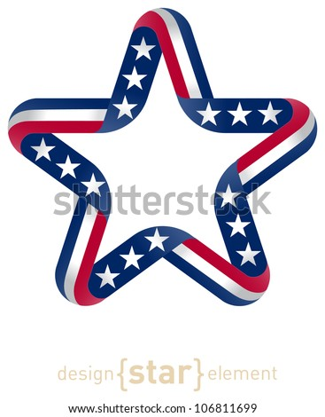 The star with american flag colors and symbols raster design element - stock photo