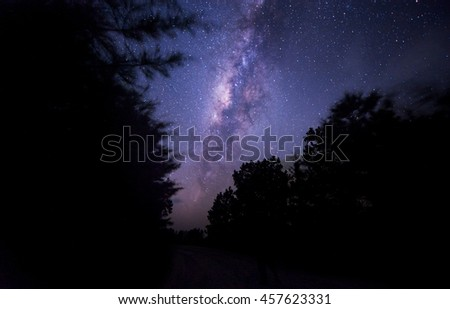 The starry sky and the Milky Way. Image contain noise, blur due to slow shutter speed and High ISO. - stock photo