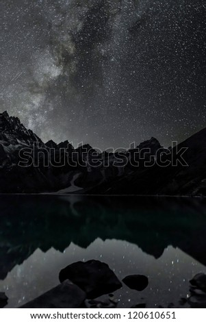 The starry sky is reflected in the third Gokyo lake - Nepal, Himalayas - stock photo