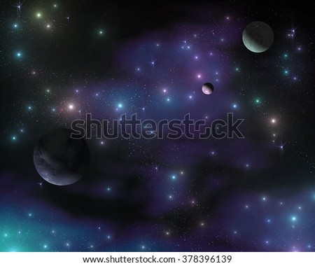 The stars in the galaxy, a stellar nebula, planets in space - stock photo
