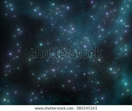 The stars in the galaxy, a stellar nebula, planets in space