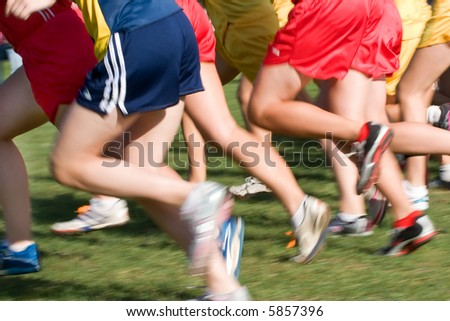 The start of a cross country running event - stock photo