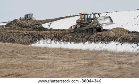 The start of construction on a road near Calgary, Alberta, Canada - stock photo