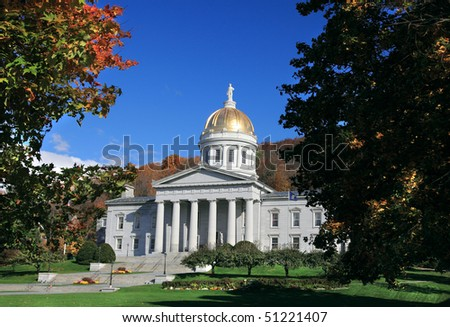 The State Capitol Building in Montpelier Vermont on sunny autumn day