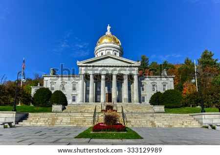 The State Capitol Building in Montpelier Vermont, USA. The current Greek Revival structure is the third building on the same site to be used as the State House. It was occupied in 1859. - stock photo
