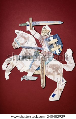 "The state emblem of Lithuania, ""Vytis"", made of folded banknotes of Lithuanian national currency Litas and European Union Euro as origami, symbolizing currency exchange in Lithuania in January 2015 - stock photo"