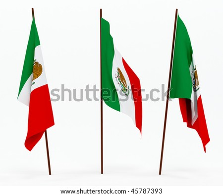 The state flag of Mexico. On white background - stock photo