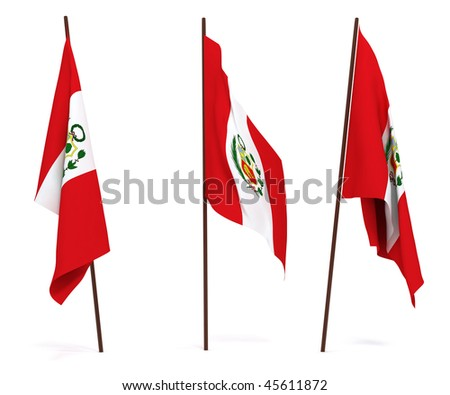 The state flag of Peru. On white background - stock photo