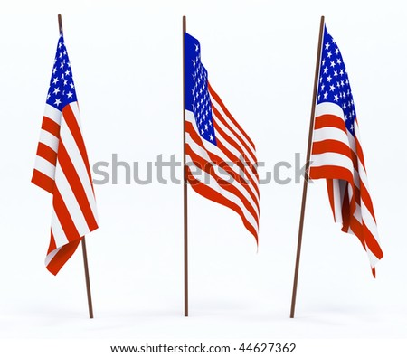 The state flag of United States of America. On white background