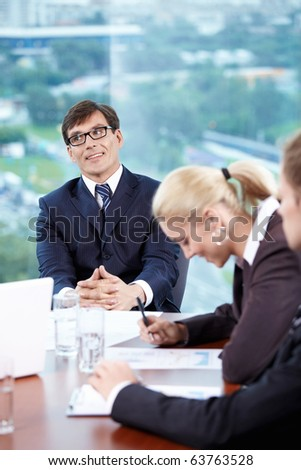 The state office workers at a meeting - stock photo