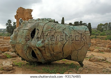 The statue in the archeological area of Agrigento, Sicily, Italy - stock photo