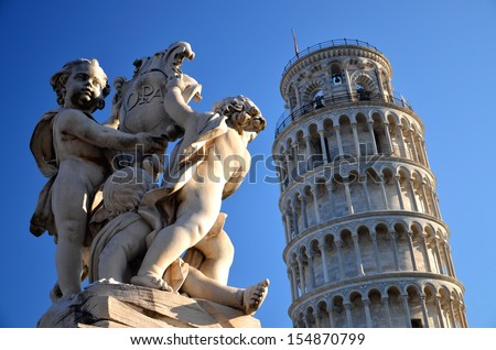 The statue of angels on Square of Miracles in Pisa, Italy - stock photo