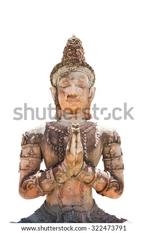 The Statue of Buddha made from stone on a white background - stock photo