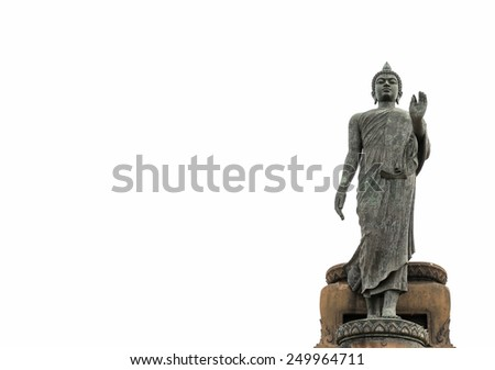 The Statue of Buddha on white background. - stock photo