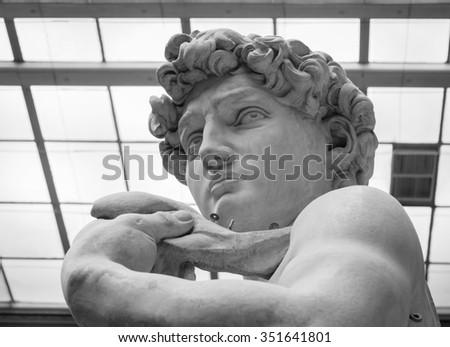 The statue of David by italian artist Michelangelo. - stock photo