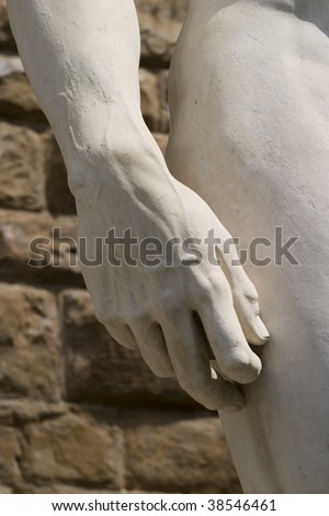 The statue of David by italian artist Michelangelo (Hand detail)