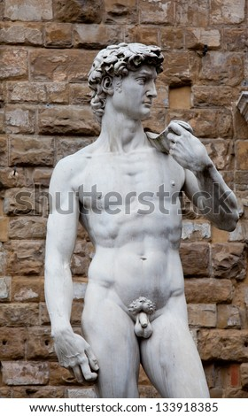 The statue of David by Michelangelo on the Piazza della Signoria in Florence, Italy - stock photo