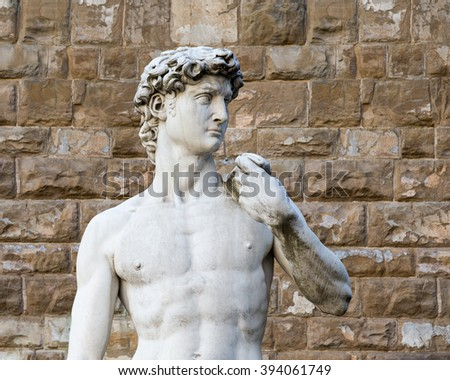 The statue of David by Michelangelo on the Piazza della Signoria in Florence, Italy.  Concepts could include Art, History, Beauty, Travel, others. - stock photo