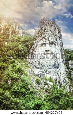 The statue of Decebal's face, carved in the mountain