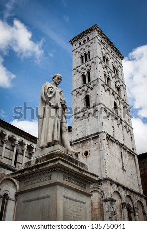 The statue of Francesco Burlamacchi at the cathedral of Saint Michele in Lucca, Italy - stock photo