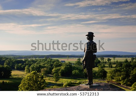 The statue of Gen. G.K. Warren at Little Round Top, Gettysburg Battlefield - stock photo