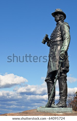 The statue of Gen. Warren at Gettysburg - stock photo