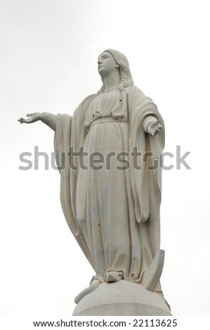 the statue of goddess in santiago chile - stock photo