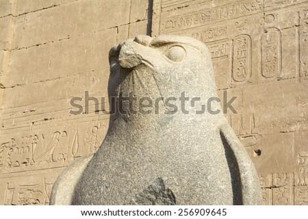 The statue of Horus at Edfu Temple, Egypt - stock photo