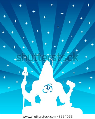 The statue of Indian God Shiva and OM symbol - stock photo
