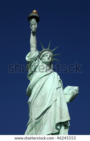 The Statue of Liberty against a perfect blue sky