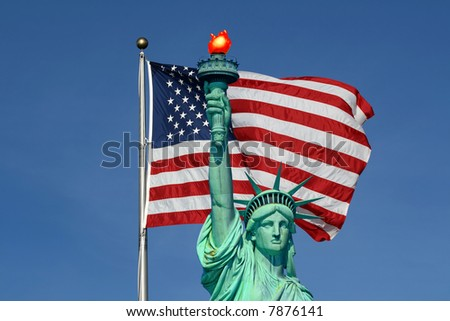 The Statue of Liberty and American Flag