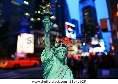The Statue of Liberty and Times Square - Icons of the New York City - stock photo