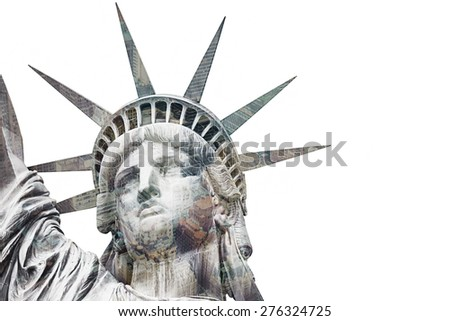The Statue of Liberty at New York City. Double exposure over white background. - stock photo
